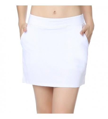 Womens Elastic Pleated Skort Pockets