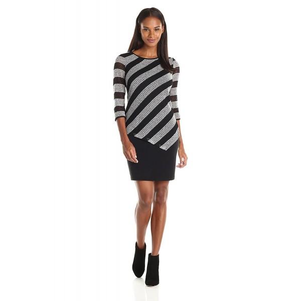 932767aac9c Women s 3 4 Sleeve 1 Pc Knit Dress - Black Ivory - CP127ZLZGW5