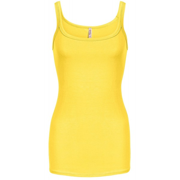 Womens Basic Reg and Plus Size Tank Tops Soft Camisole - Made in USA -  Yellow - C6180TKQQL8