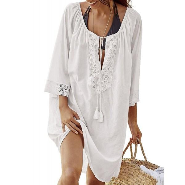 76d5a111bd ... Cover Up Lace Swimwear Bikini Beach Top Sun Dress Maxi - White -  CY1806MSYAE. MorySong Womens Bathing Swimwear Bikini