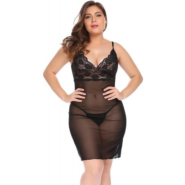 b060ed876a3 ... Women Plus Size 2 Pieces Halter Lace Babydoll Mesh Sexy Lingerie Set  Nightwear - Black - CE1884N57EM. Pieces Halter Babydoll Lingerie Nightwear
