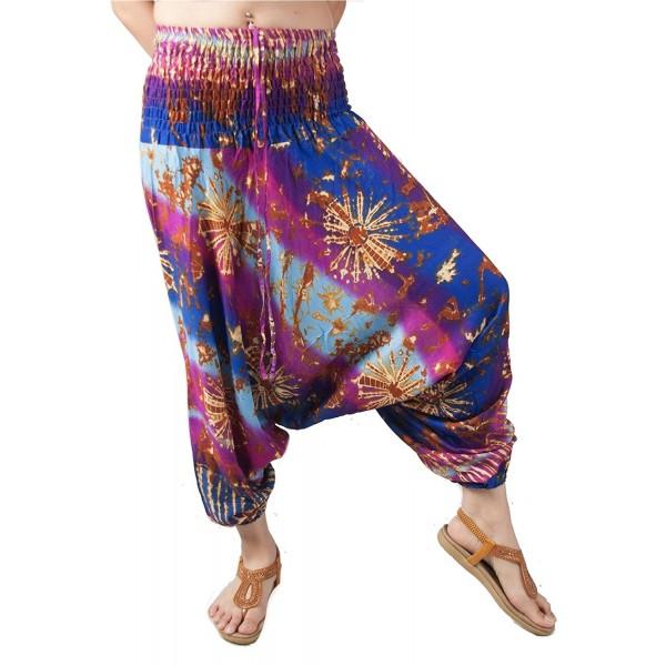 2ee3a0ee1bb Women s Smocked Waist Floral Pattern 2 In 1 Harem Pants Jumpsuit ...