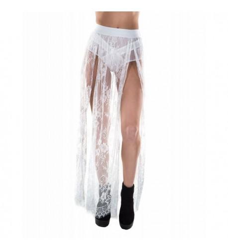 iHeartRaves White Floral Sheer Skirt
