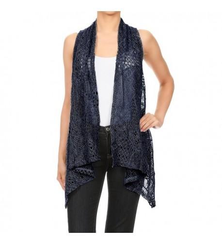 Anna Kaci Sleeveless Crochet Cardigan X Large