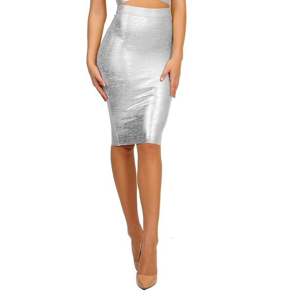 Curve Womens Bandage Bodycon Silver