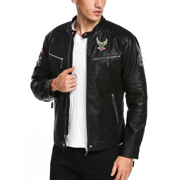 COOFANDY Vintage Leather Biker Jacket