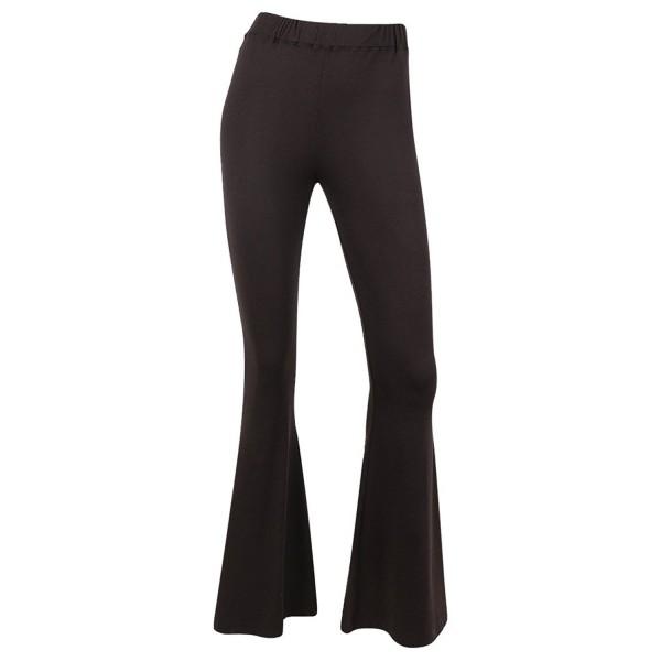 edfd9535e Women's High Waisted Stretchy Bell Bottom Flare Pants - BLACK ...