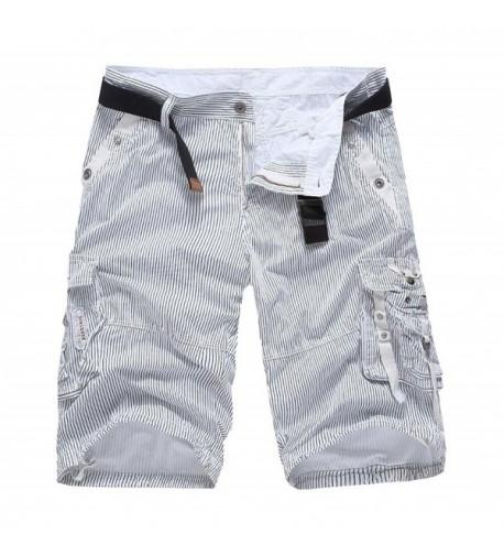 Stripe Multi pocket Cargo Shorts White