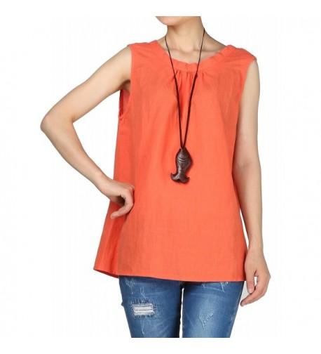 Mordenmiss Womens Sleeveless Pullovers MM01 Orange