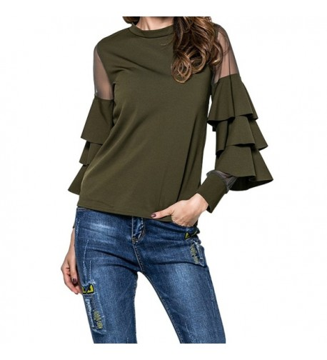 Fancathy Womens Tiered Sleeve T Shirt