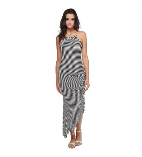 Racerback Asymmetrical Striped Dress White
