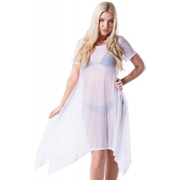 10af6ed0025 Made in the USA - Sheer Mesh Shirt Dress Beach Coverup - 7905_white ...