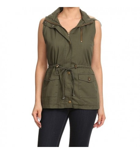 Womens Sleeveless Sherpa Lining Military