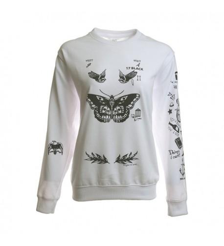 Noonew Womens Butterfly Tattoos Sweatshirt