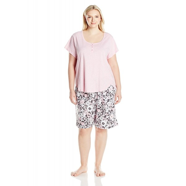 4dc92323c1 Women s Kn Cool by Short Sleeve Pullover Bermuda Set - Pink Floral ...