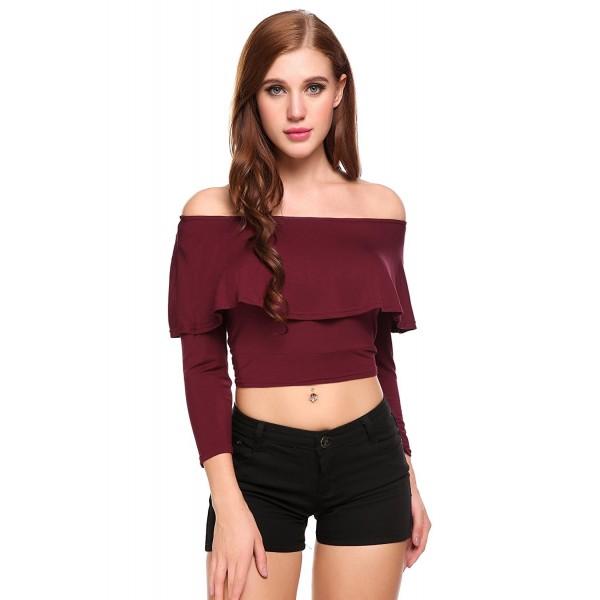 5cd0a426a0b8a5 Women s Long Sleeve Shirt Strapless Blouses Off Shoulder Tops - Wine ...