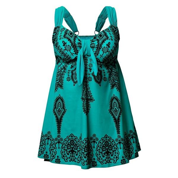 37f488f603114 ... Retro Print Two Piece Pin up Tankini Swimwear - Tile Blue -  CS12IDG7M7D. Womens Plus Size Swimsuit Beachwear Swimwear