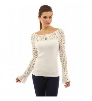 PattyBoutik Womens Crochet Sweater Off White