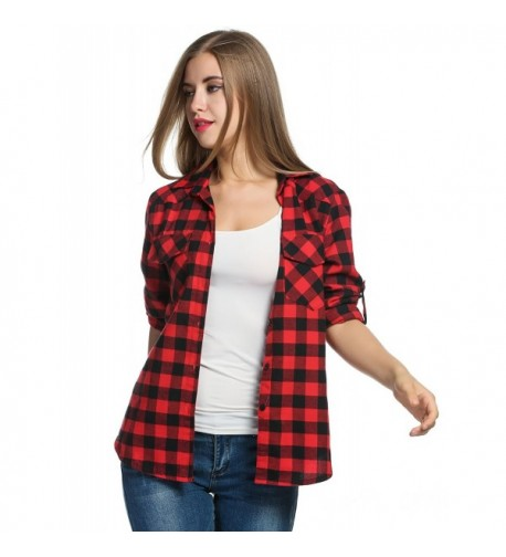 Womens Flannel Sleeve Checkered Cotton