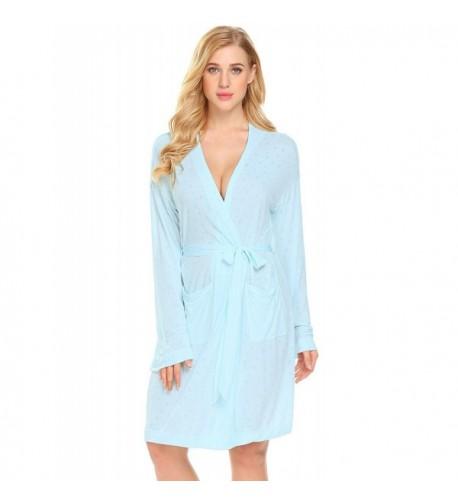 Acecor Nightgown Pockets Bathrobe Loungewear