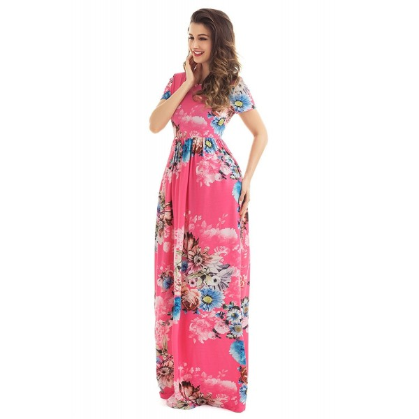 9dd1216ec9 ... Print Long Dress Short Sleeve Empire Flower Maxi Dresses - Red -  CP17AA3OOXH. HOTAPEI Womens Floral Sleeve Dresses