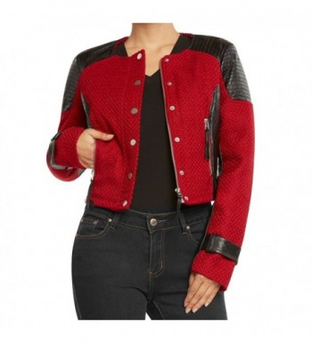 Runway Womens Colorblock Jacket Red Black Small
