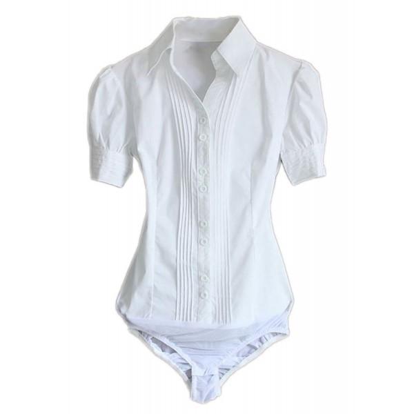 ... Women Short Sleeve Button Down Career Shirt Bodysuit Blouse - Style  1-white - CY12EXFBQ0R. Soojun Sleeve Button Career Bodysuit 1dd0fa269