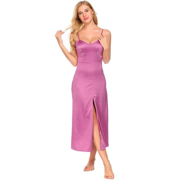 f6d406a819186 Women Long Satin Nightgowns Sleeveless Chemises Nightdress Full ...