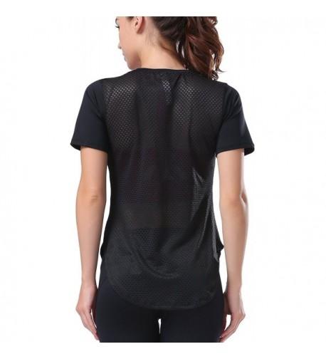 Campeak Womens Workout T Shirt Black M