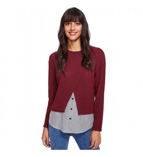 Milumia Womens Contrast T Shirt Burgundy