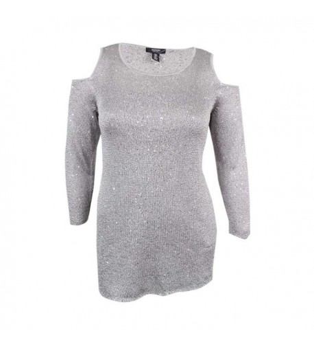 Alfani Womens Sequined Shoulder Pullover