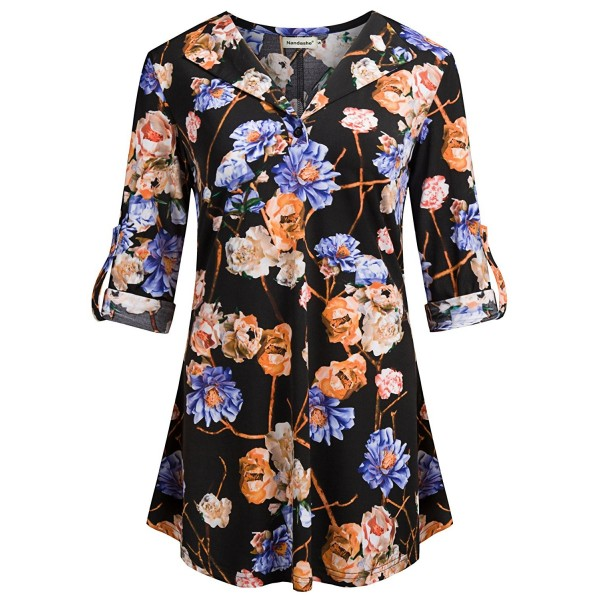 e6dc4c1d820886 Women's 3/4 Roll Up Sleeve V-Neck Tunic Tops Loose Fit Blouses ...