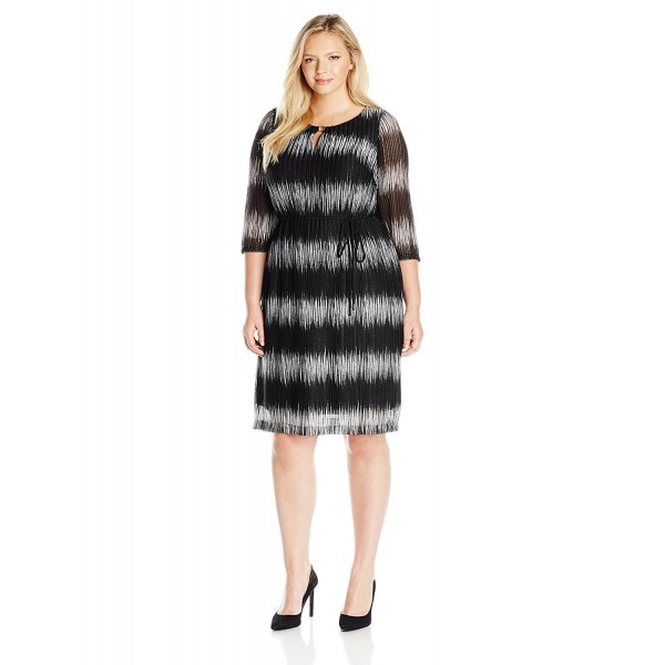 Women\'s Plus Size Dress - Black/Off White - CE12I4ZJJ65