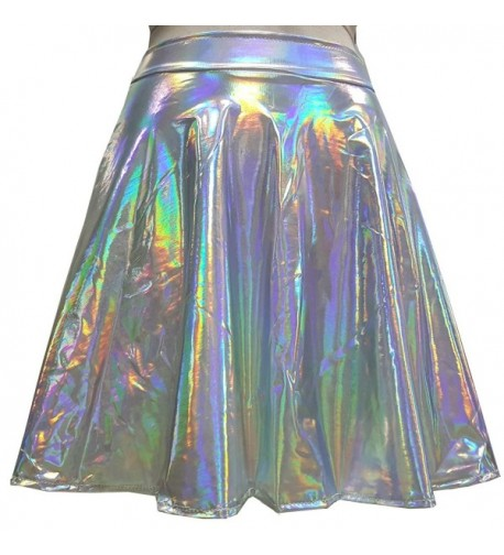 Summer Holographic Waisted Skater silver