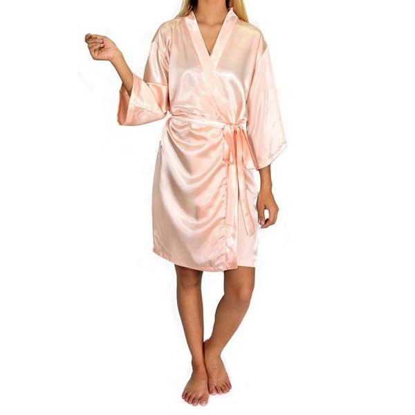 7dd15117b Women s Luxury Silky Satin Kimono Style Bathrobe - Rosegold Bathrobe ...