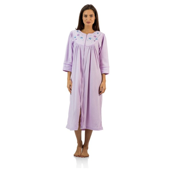 40c2a2846f00 Women's Zipper Front Jacquard Fleece Long Robe Duster - Purple ...