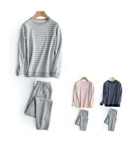 HaloVa Pajamas Striped Sleepwear Sweatshirt