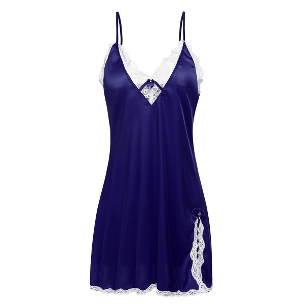 Satin Pajamas Women Sexy Sling Babydoll Lingerie Lace Nightgown XS ... 30b5a0aca
