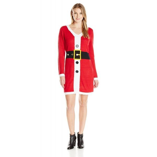 Women Christmas Sweater Dress.Women S Santa Suit V Neck Bodycon Ugly Christmas Sweater Dress Red Cr12hsi1tnz