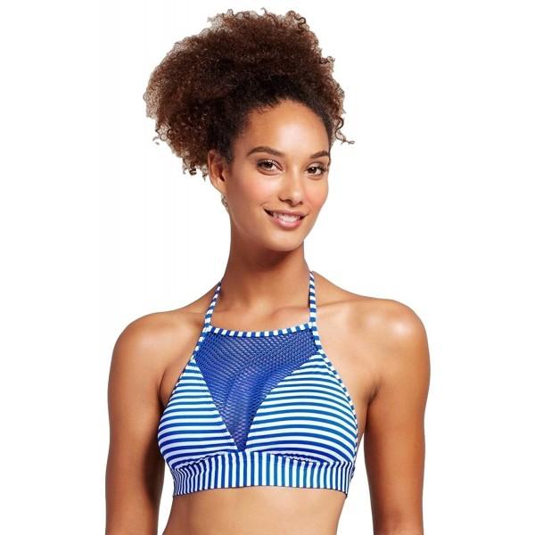 23a8584352 Women's Mesh High Neck Halter Bikini Top - Resort Blue Stripe ...
