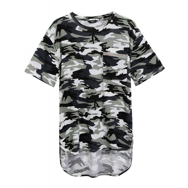 COOFANDY Summer Hipster Camo Camouflage Longline