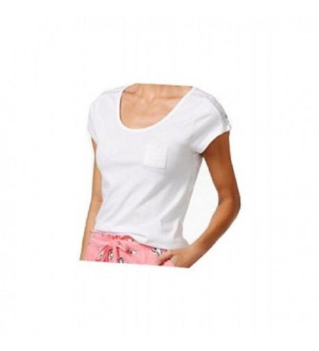 Lace Trim Pocket Pajama White Large