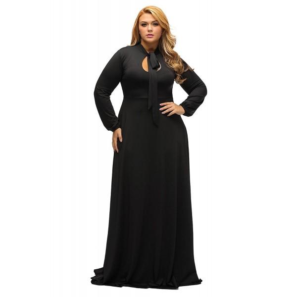 Women\'s Vintage Long Sleeve Plus Size Evening Party Maxi Dress Gown - Black  - CV12NU4R3DL