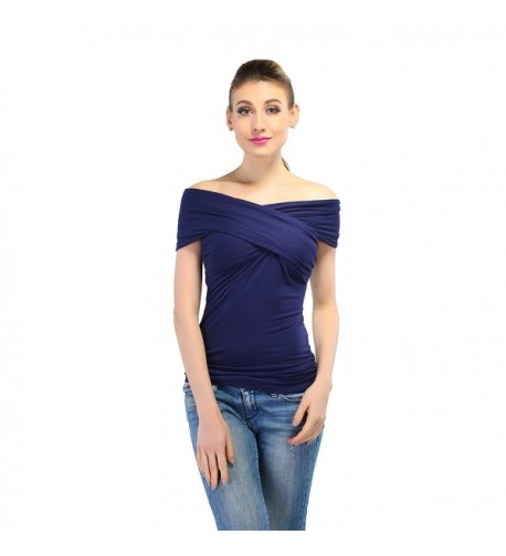 Lolichy Womens Crossover Shoulder Shirts