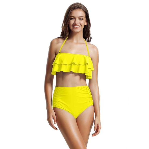 e9f6c56a0e937 Women's Ruffle Bandeau High Waisted Bikini Bathing Suits - Neon ...