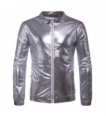 Metallic Front Bomber Jacket Silver