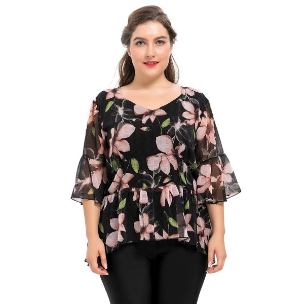 9c60ffd6af5aef Women's Front Lined Plus Size Peplum Top Blouse Bell Sleeves 1X-4X ...
