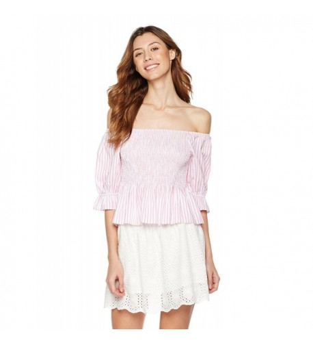 Plumberry Womens Striped Off Shoulder Smocked