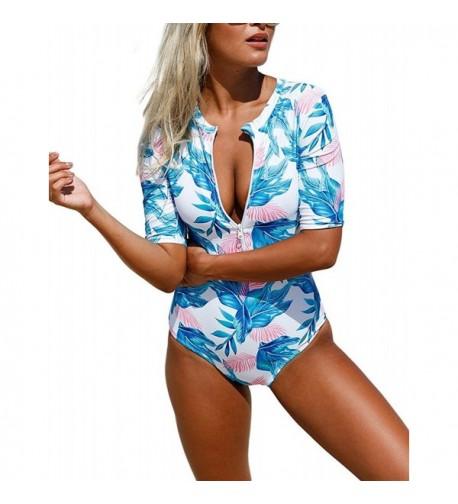 Womens Printed Sleeve Swimsuit Bikinis