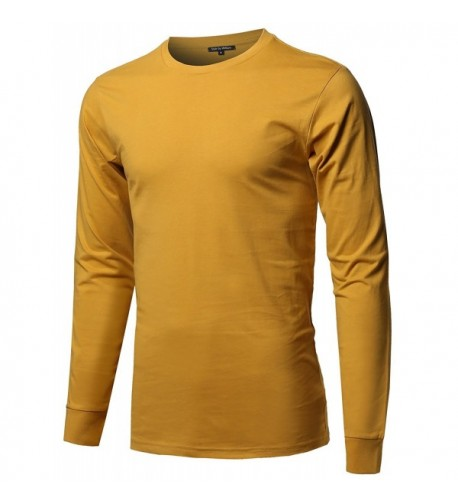 Causal Cotton Sleeve T Shirt Mustard